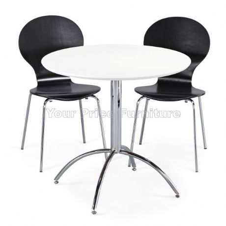 Kimberley Dining Set White & 2 Black Chairs Sale Now On Your Price Furniture